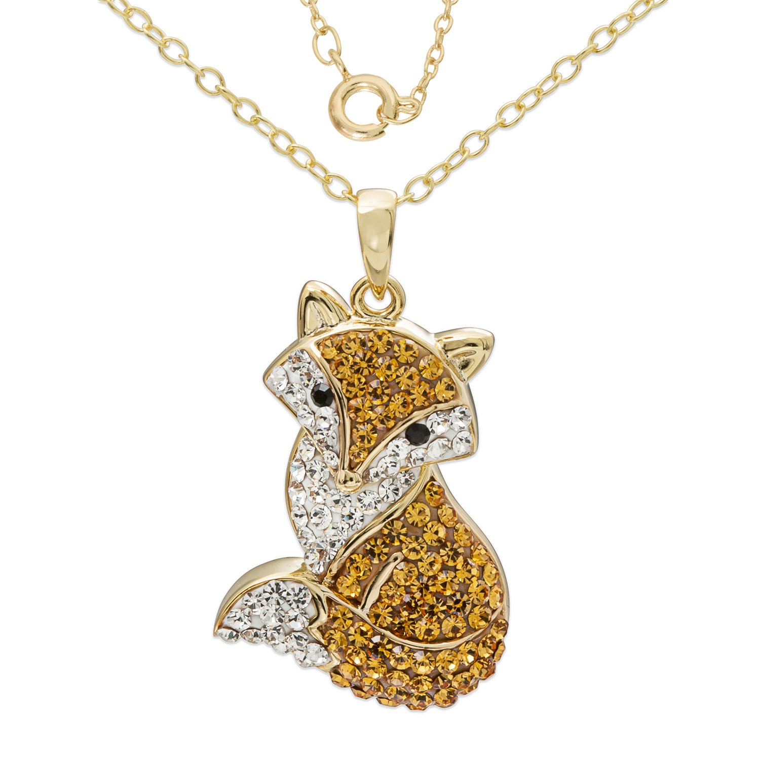 Crystalogy Women s Sterling Silver Swarovski Crystal Fox Animal Pendant Necklace, 18 Chain