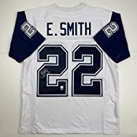 $249 » Autographed/Signed Emmitt Smith Dallas White Football Jersey GTSM COA Hologram Only