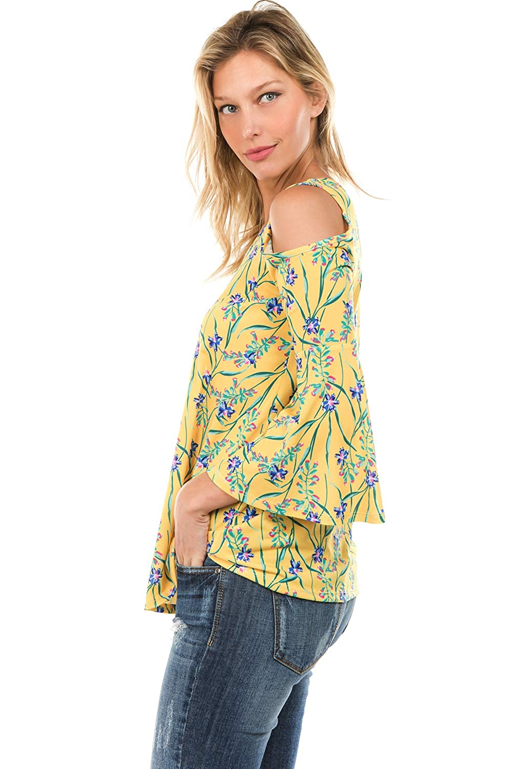 -VT7365 VAVA by Joy Han Womens Printed Brenda TOP Yellow