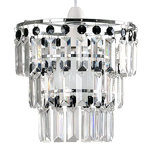 Modern 3 Tier Ceiling Pendant Light Shade with Black & Clear Acrylic ...