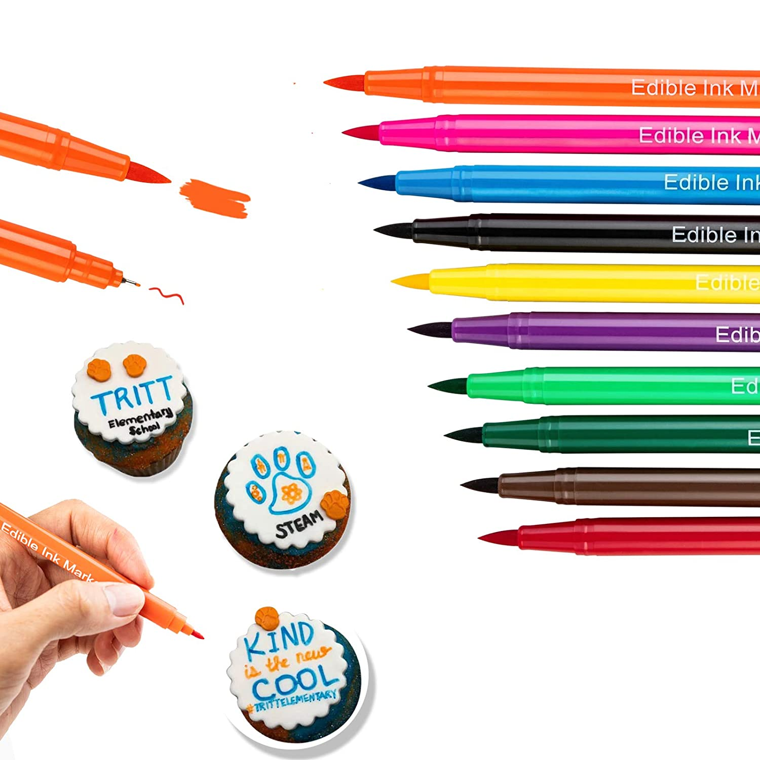 DOMISL Upgrade 10 Colors Food Coloring Marker Pens Dual Sided Edible Markers with Fine(0.5mm)and Thick Tip Food Grade Gourmet Writers for DIY Decorating Fondant Cakes Cookies Frosting Easter Eggs