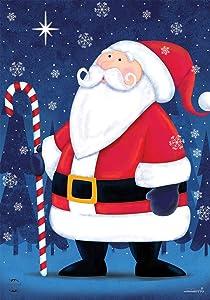 "Briarwood Lane North Star Santa Christmas Garden Flag Primitive Candy Cane 12.5"" x 18"""