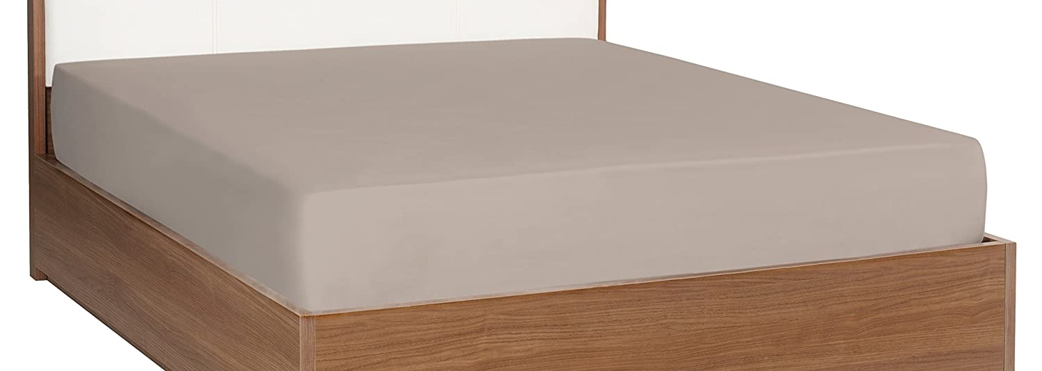 Half Price Drapes CJR-BGEFS-TTXL 100% Cotton Knitted Jersey Fitted Bed Sheet, Twin X-Large, Beige