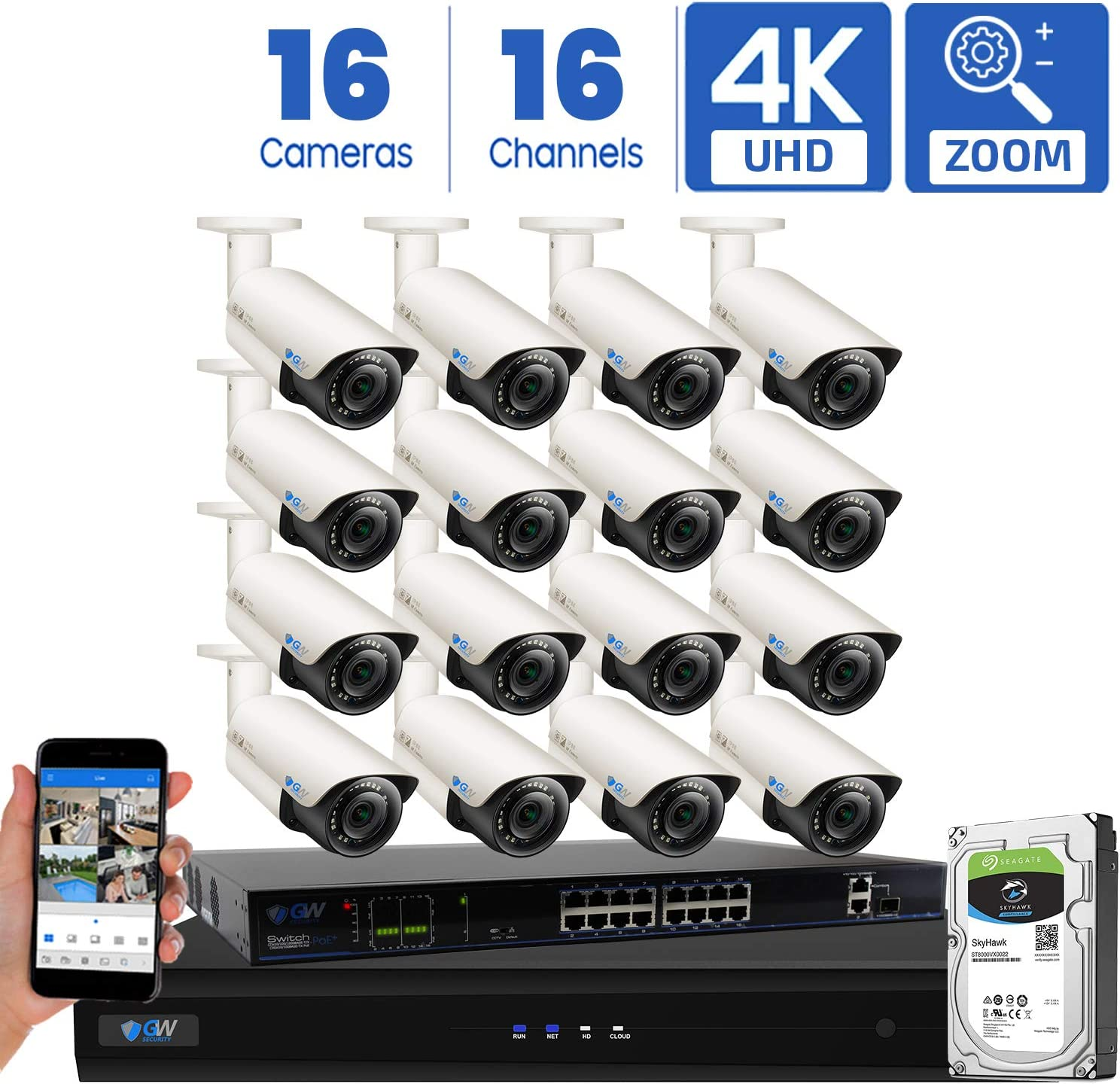 GW Security AutoFocus 4K 8MP IP Camera System, 16 Channel H.265 4K NVR, 16 x 8MP UltraHD 3840×2160 Bullet POE Security Camera 4X Optical Motorized Zoom Outdoor Indoor