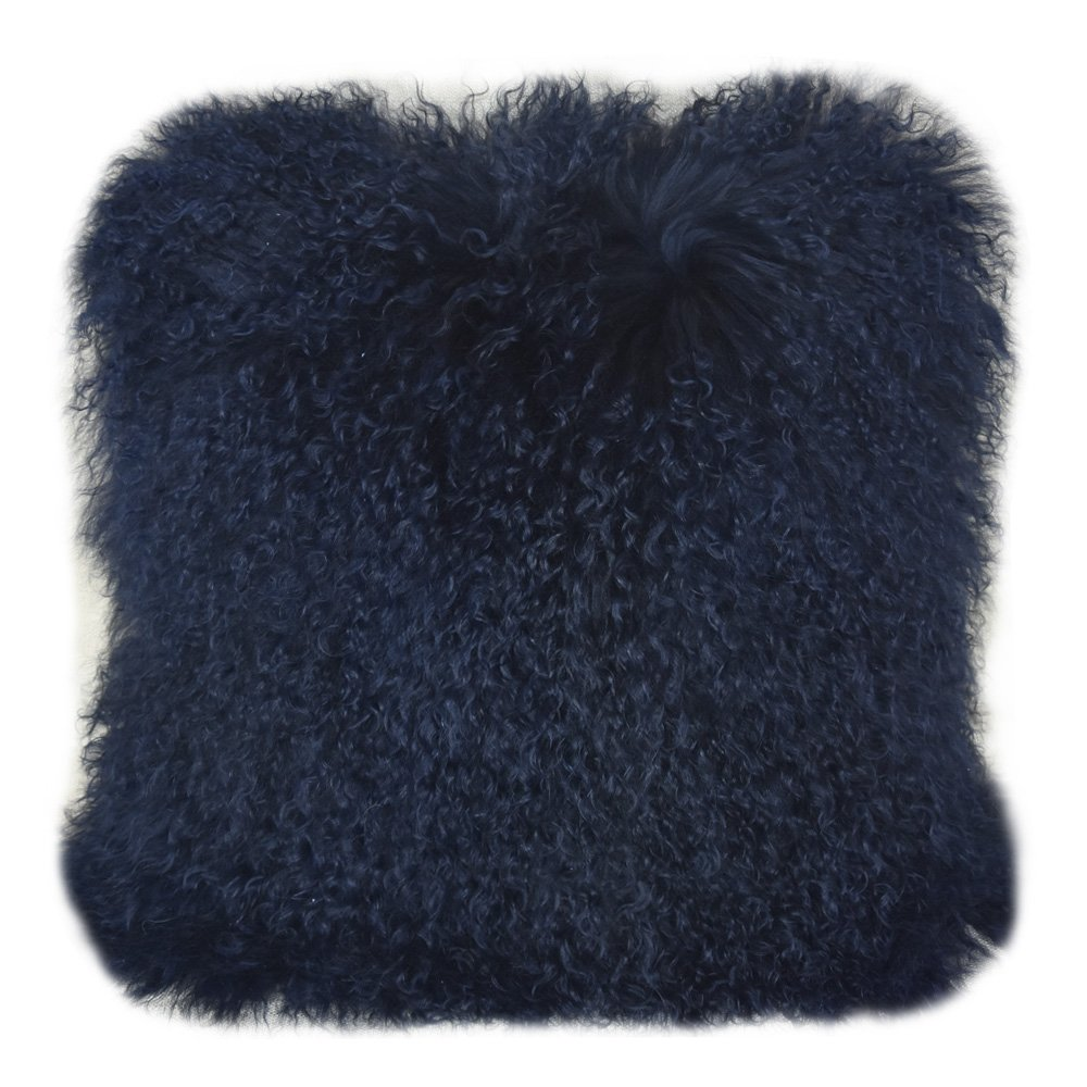Lichao Real Mongolian Lamb Fur Pillow Case Luxurious Sheep Skin Wool Cushion Cover Super Soft Plush Throw Cover 16X16Inch Pillow Cover (Dark Navy Blue,NOT Black Color)