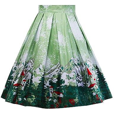 VECDY Faldas de Cintura Alta para Mujer, Falda Vintage de Navidad ...
