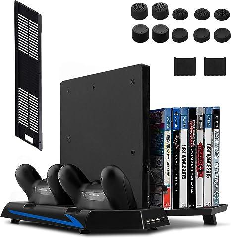 Keten PS4 Slim / PS4 Soporte Vertical con Ventilador 2 en 1, Puerto de carga, Almacenamiento para Juegos y Puerto con 3 Espacios para USB: Amazon.es: Electrónica