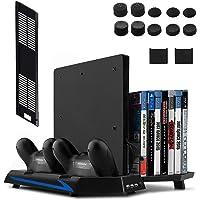 Keten PS4 Slim / PS4 Soporte Vertical con Ventilador 2 en 1, Puerto de carga, Almacenamiento para Juegos y Puerto con 3 Espacios para USB - An área Todo en Uno para Sus Necesidades de Juego