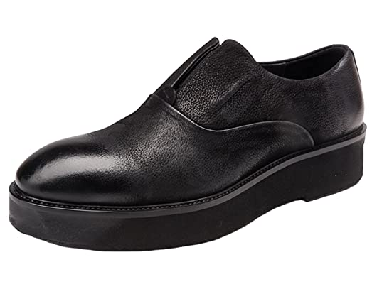 Mens Loafer Shoes Leather Platform Shoes Men Classic Slip On Dress Shoes By Santimon Black
