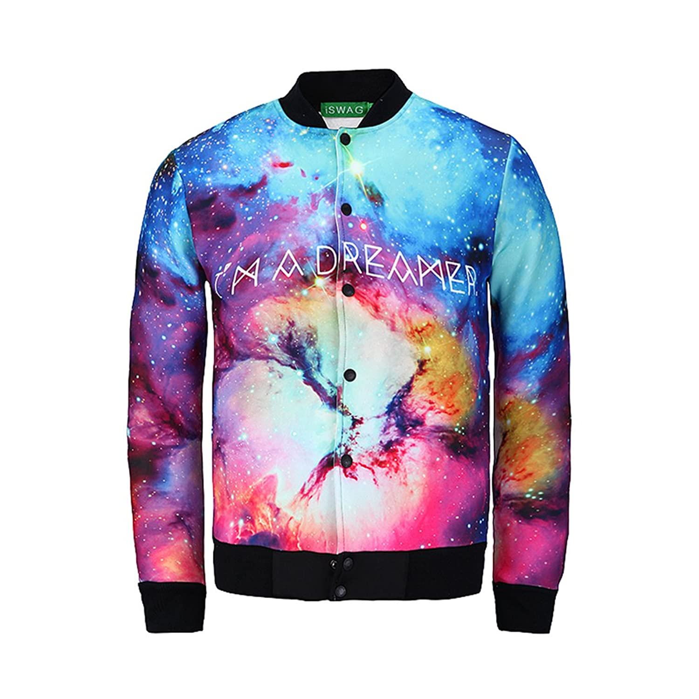 YonBii Unisex Hip Hop Galaxy Nebula Baseball Jacket with colorful 3D Digital Print