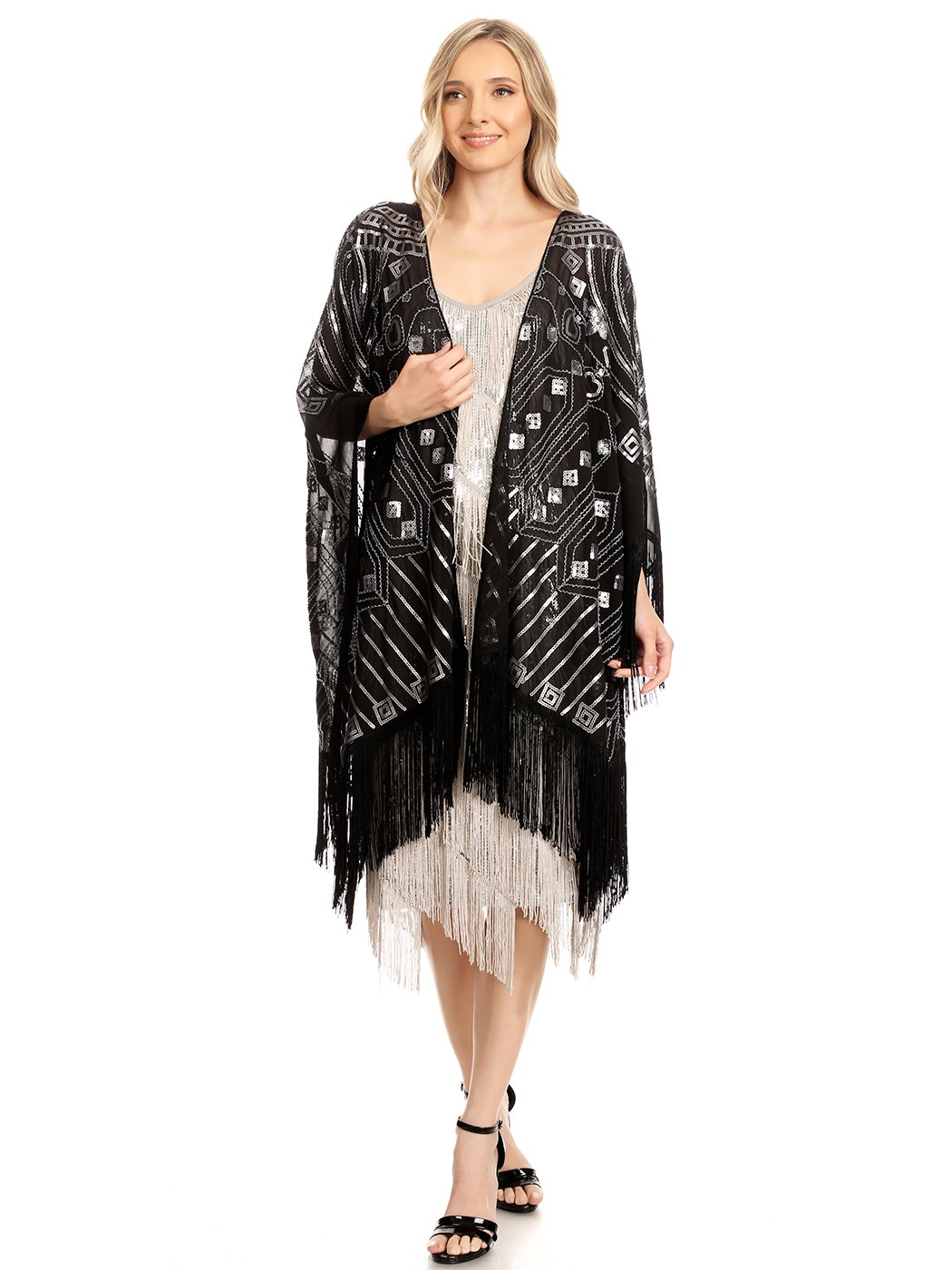 Anna-Kaci Womens Oversized 1920s Hand Beaded Fringed Sequin Evening Shawl Wrap, Black, Onesize by Anna-Kaci