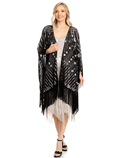 1920s Style Shawls, Wraps, Scarves Anna-Kaci Womens Oversized Hand Beaded and Sequin Evening Shawl Wrap with Fringe $42.99 AT vintagedancer.com