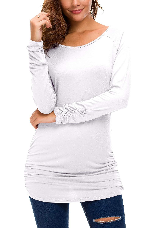 Urban GoCo Damen Langarmshirt Stretch Lang T-Shirt