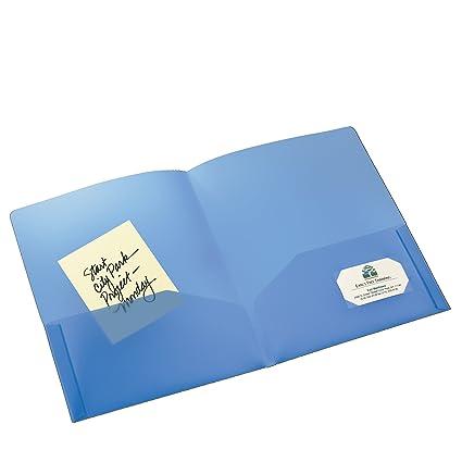 amazon com avery translucent two pocket folder blue 47811