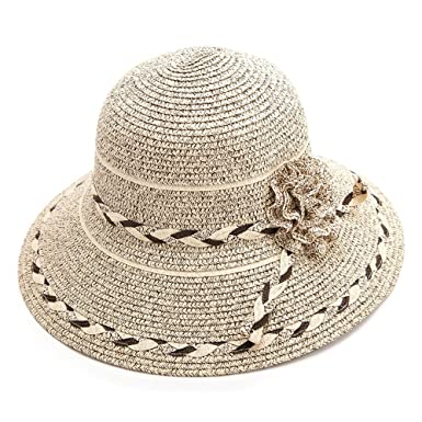 Siggi Summer Straw Panama Beach Fedora Floppy Sun Hat Wide Brim Flower  Accent for Women Coffee 6e418a2a8840