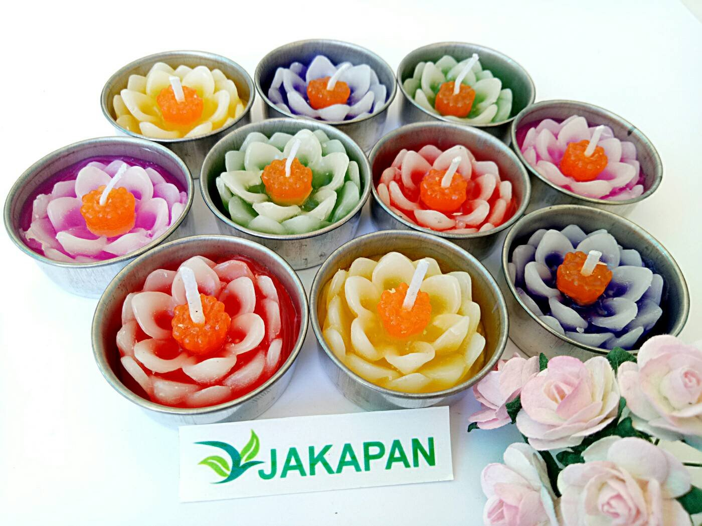 Jakapan Lotus Flower Candle in Tea Lights, Floating Candles, Scented Tea Lights, Aromatherapy Relax ,Gift Set 10 Pcs