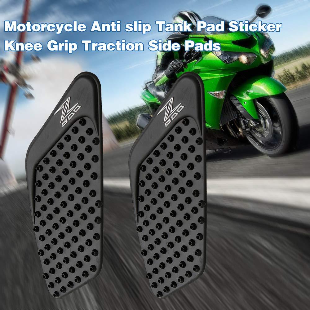 Tamponi Laterali di Trazione Presa Ginocchio dellautoadesivo del Carro Armato Adatto per Kawasaki Z900 2017 KKmoon Motociclo Serbatoio Pad Antiscivolo Verde