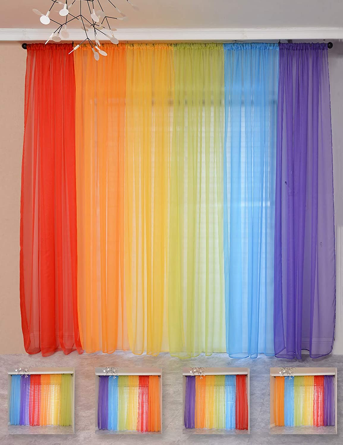 """Yancorp 6 Panels Sheer Curtains Rainbow 240"""" Wide Window Decoration Voile Drapes 84 Inches Kids Girls Party Favor Christmas Classroom Decor Kitchen Bedroom Backdrop Red Orange Yellow Green Blue Purple"""