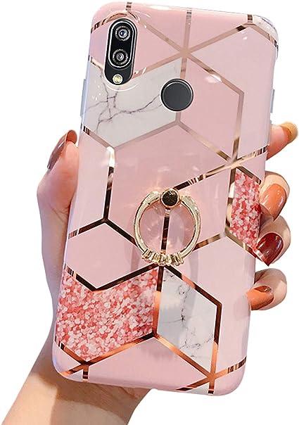MoreChioce Coque Huawei P20 Lite,compatible avec Coque Huawei P20 Lite Gold,Jolie Géométrie Bling Diamond Coque en Silicone avec Anneau Housse de ...