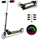 Hosmat Scooter for Kids with LED Light Up Wheels, Adjustable Height A3 Kick Scooters, 5lb Lightweight Folding Kids Scooter, 110lb Weight Capacity, Best Gifts for 3-12 Girls Boys