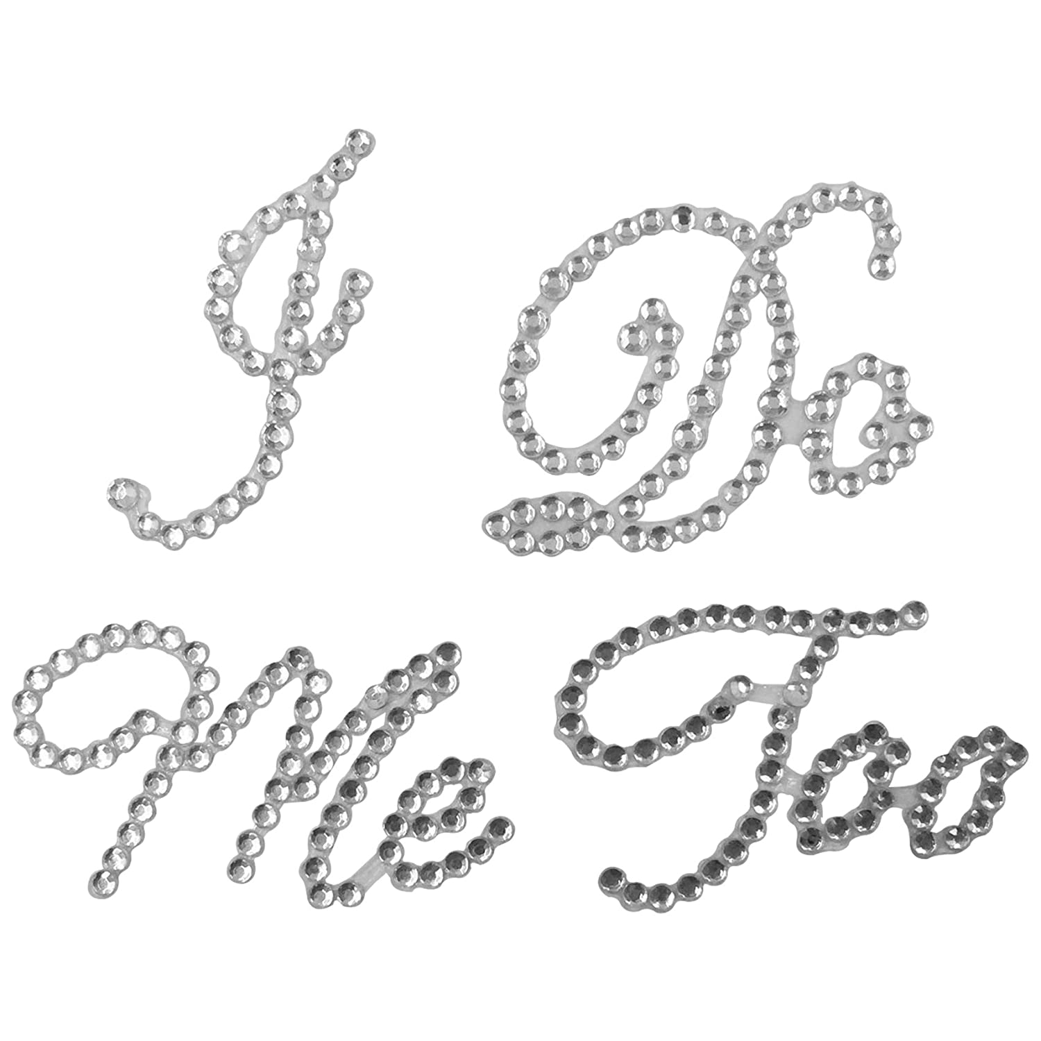 Wedding Rhinestone Shoe Decals Sticker Applique I Do White
