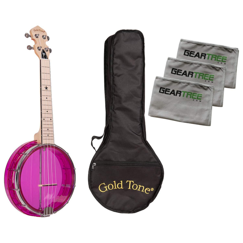 Gold Tone Little Gem Amethyst Clear Banjo Ukulele Bundle w/Bag & Cloth