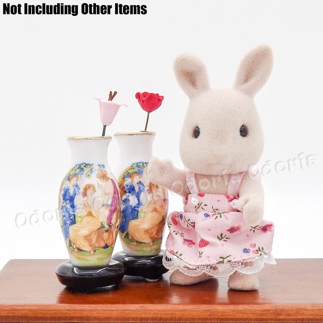 Odoria 1:12 Miniature 2PCS Antique Porcelain Vase Dollhouse Decoration Accessories