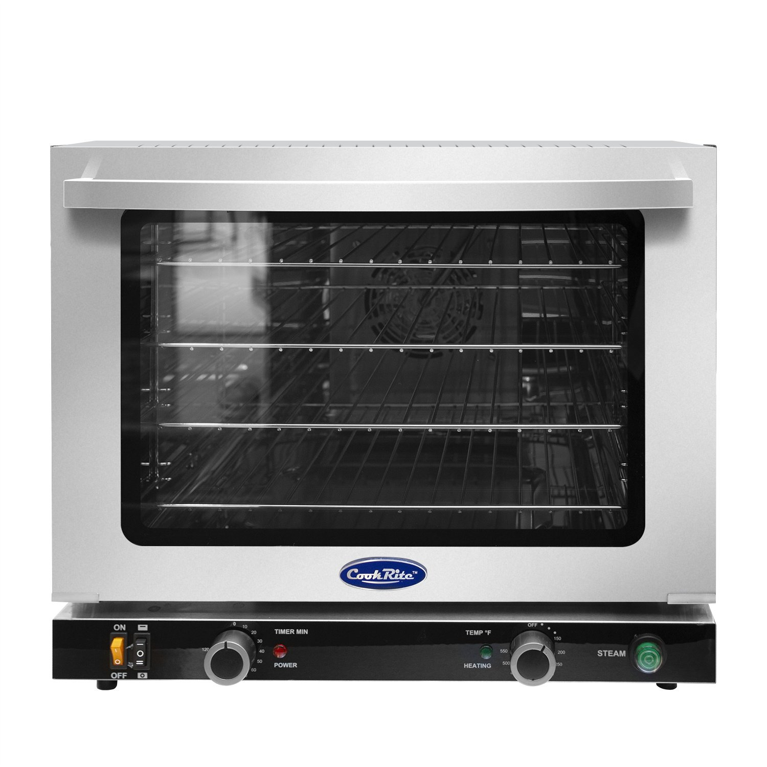 Commercial Electric Convection Oven,COOKRITE CRCC-50S Commercial Medium Electric Countertop Convection Oven Stainless Steel Top Browning Element Moisture Injection Function Compact Toaster 1/2 Shelves