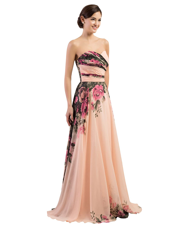 25e853c1baaa3 Amazon.com: GRACE KARIN Floral Print Graceful Chiffon Prom Dress for Women  (Multi-Colored): Clothing