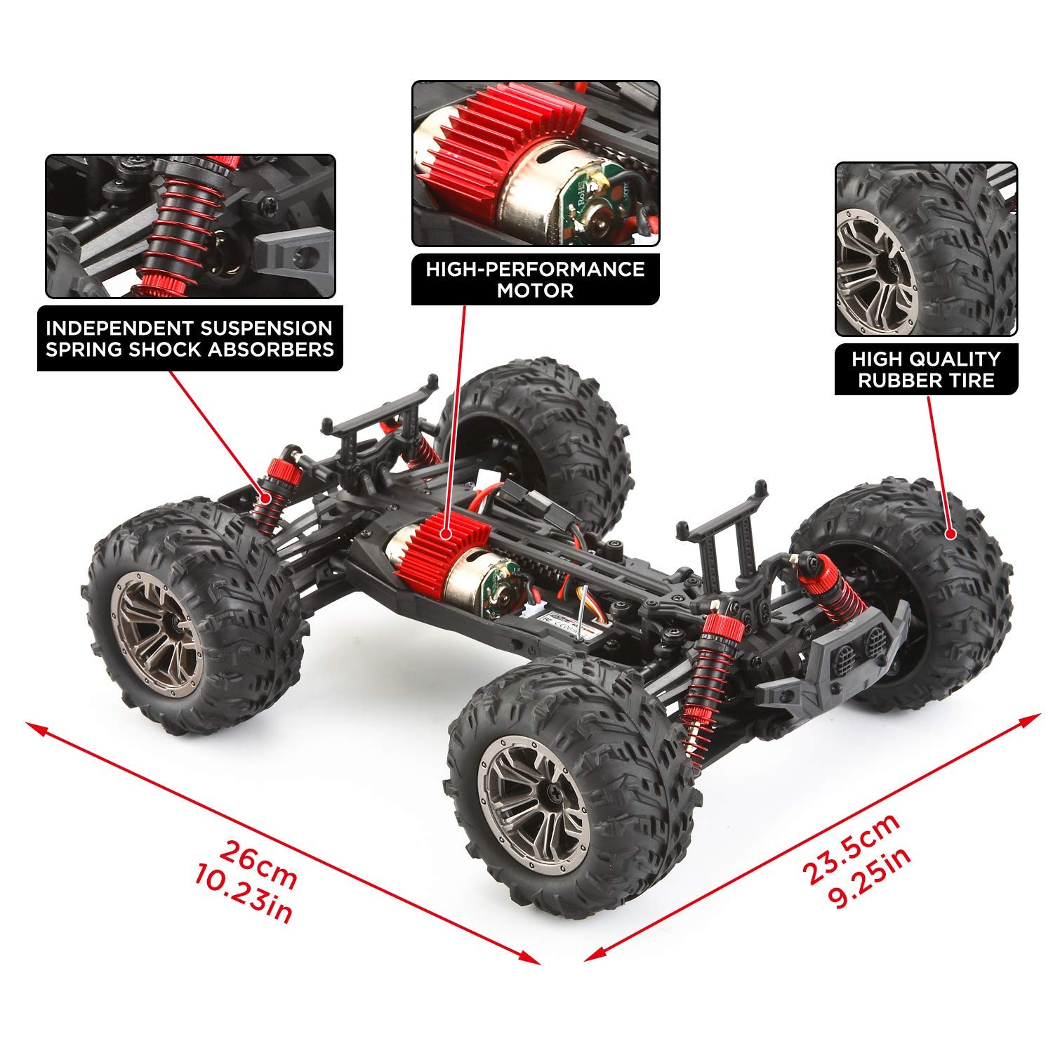 VATOS Remote Control Car High Speed Off-Road Vehicle 1:16 Scale 36km/h 4WD 2.4GHz Electric Racing Car RC Buggy Vehicle Truck Buggy Crawler Toy Car for Adults and Kids by VATOS (Image #7)