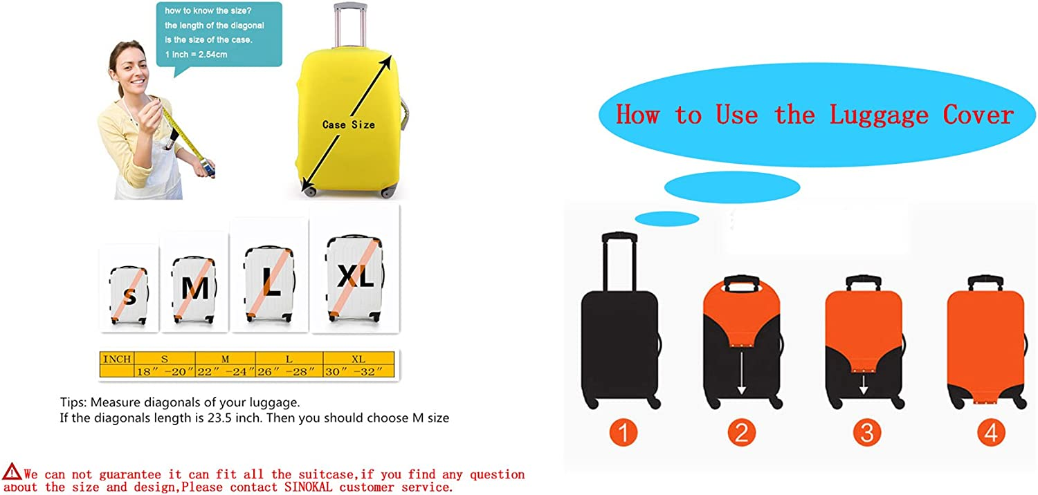 Luggage Protector Cover Elastic Suitcase Cover Spandex SINOKAL Luggage Cover Protector For 18 20 22 24 26 28 30 32 inch Suitcase Only Cover
