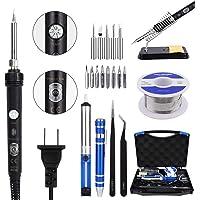Soldering Iron Kit Electronics, JayLene 60W Adjustable Temperature Welding Tool, 5pcs Soldering Tips, Desoldering Pump…