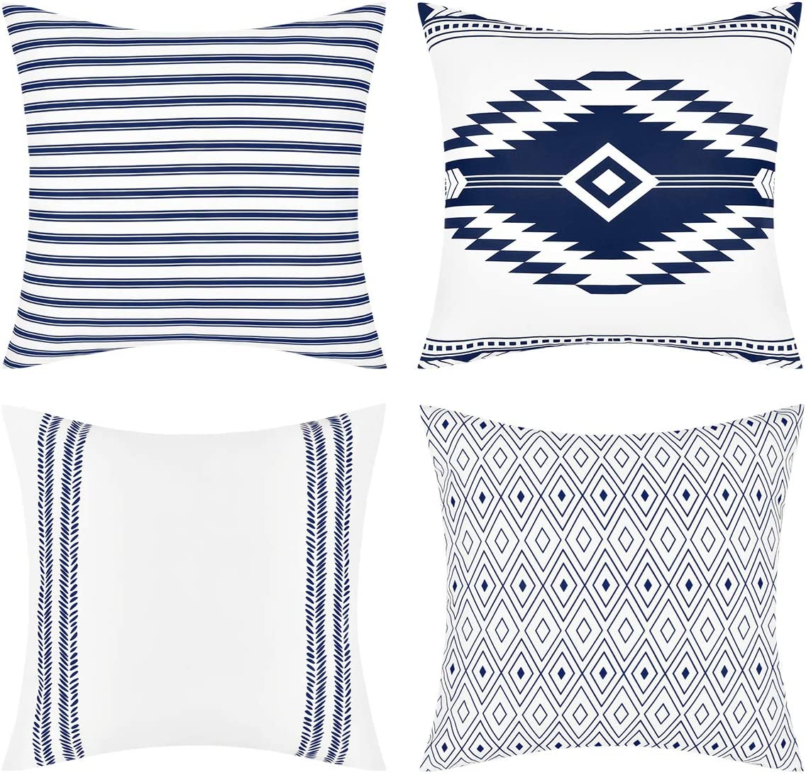 Yastouay Modern Decorative Throw Pillow Covers Boho Throw Pillow Covers Aztec Pillow Covers Geometric Cushion Cover for Home Decor Sofa Couch Bed, Blue