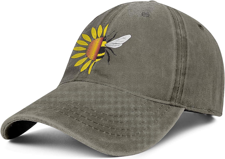 Native Sunflower Bee Creative Unisex Baseball Cap Ultra Thin Running Caps Adjustable Trucker Caps Dad-Hat