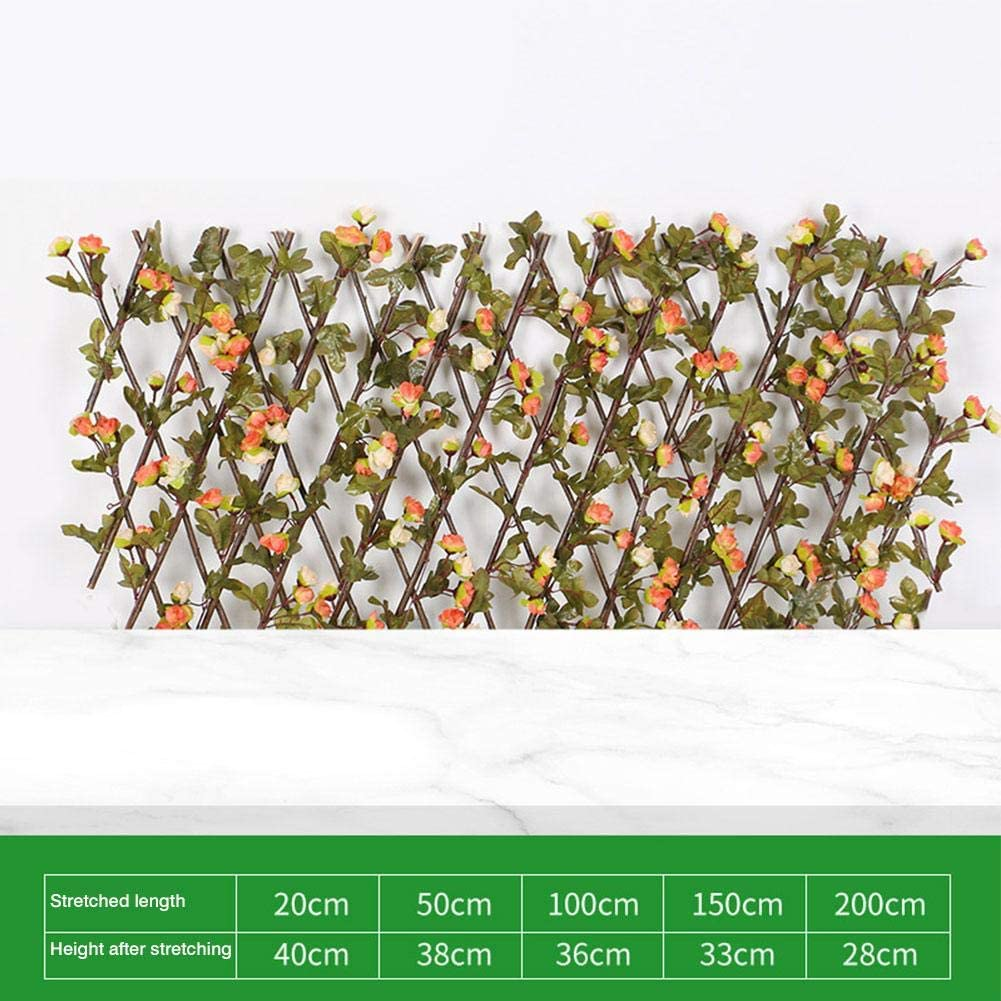 N/Z Wooden Hedge with Artificial Flower Leaves,Retractable Garden Plant Fence Privacy Screen, Suitable for Outdoor, Indoor, Garden, Fence, Backyard and Decor