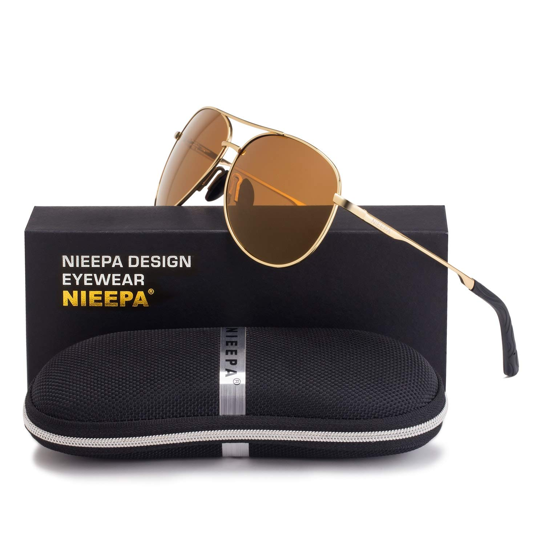 NIEEPA Men Aviator Sunglasses Women Polarized Lens UV 400 Protection Metal Frame Driving Hiking Travelling Climbing Fishing Eyewear Gifts Fashion Accessory Shades(Tea lens/Gold Frame)
