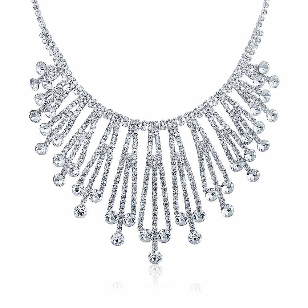 Bling Jewelry Art Deco Style Bridal Crystal Choker Silver Plated Necklace 15 Inches