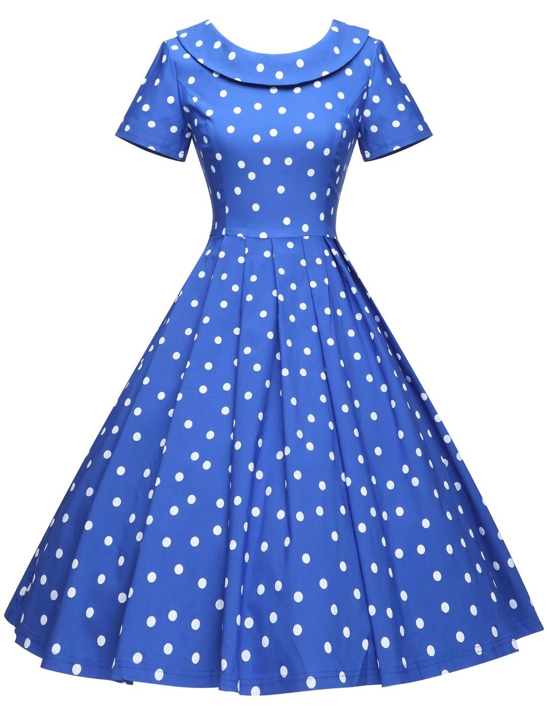 GownTown Women's 1950s Polka Dot Vintage Dresses Audrey Hepburn Style Party Dresses,Royal Blue,Medium by GownTown