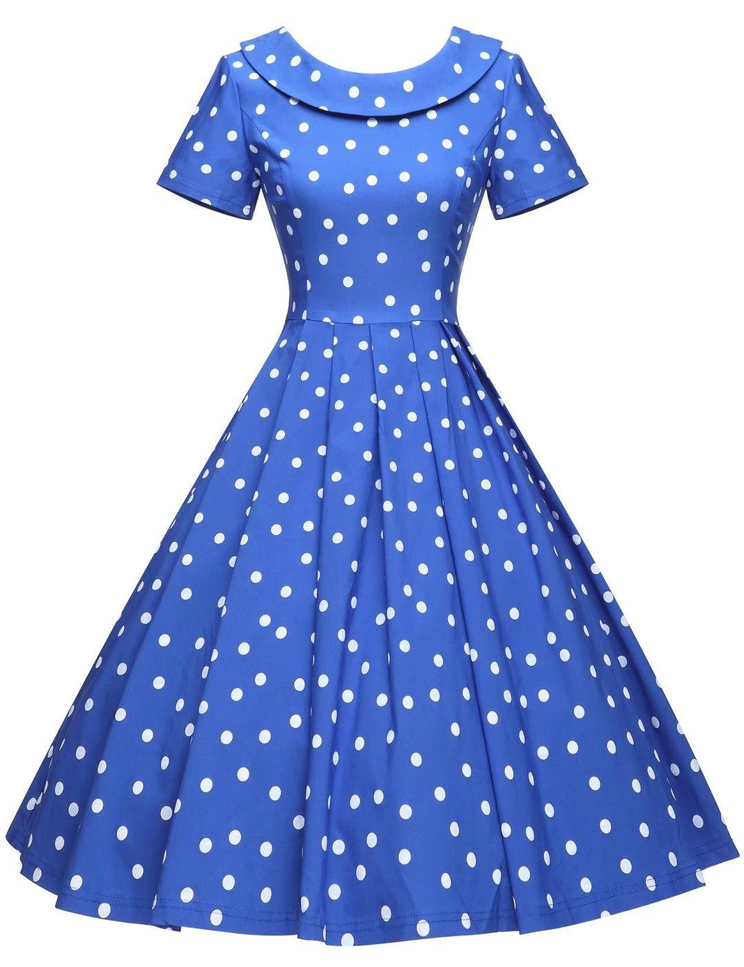 GownTown Women's 1950s Polka Dot Vintage Dresses Audrey Hepburn Style Party Dresses,Royal Blue,Medium