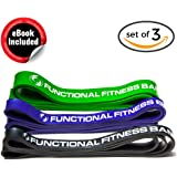 Functional Fitness Pull Up Assistance Resistance Bands Set (Light Medium Heavy Duty) - Best Exercise Loop Band for Mobility, Stretching, Chin Ups, Powerlifting, Fitness & CrossFit, 50-300lbs