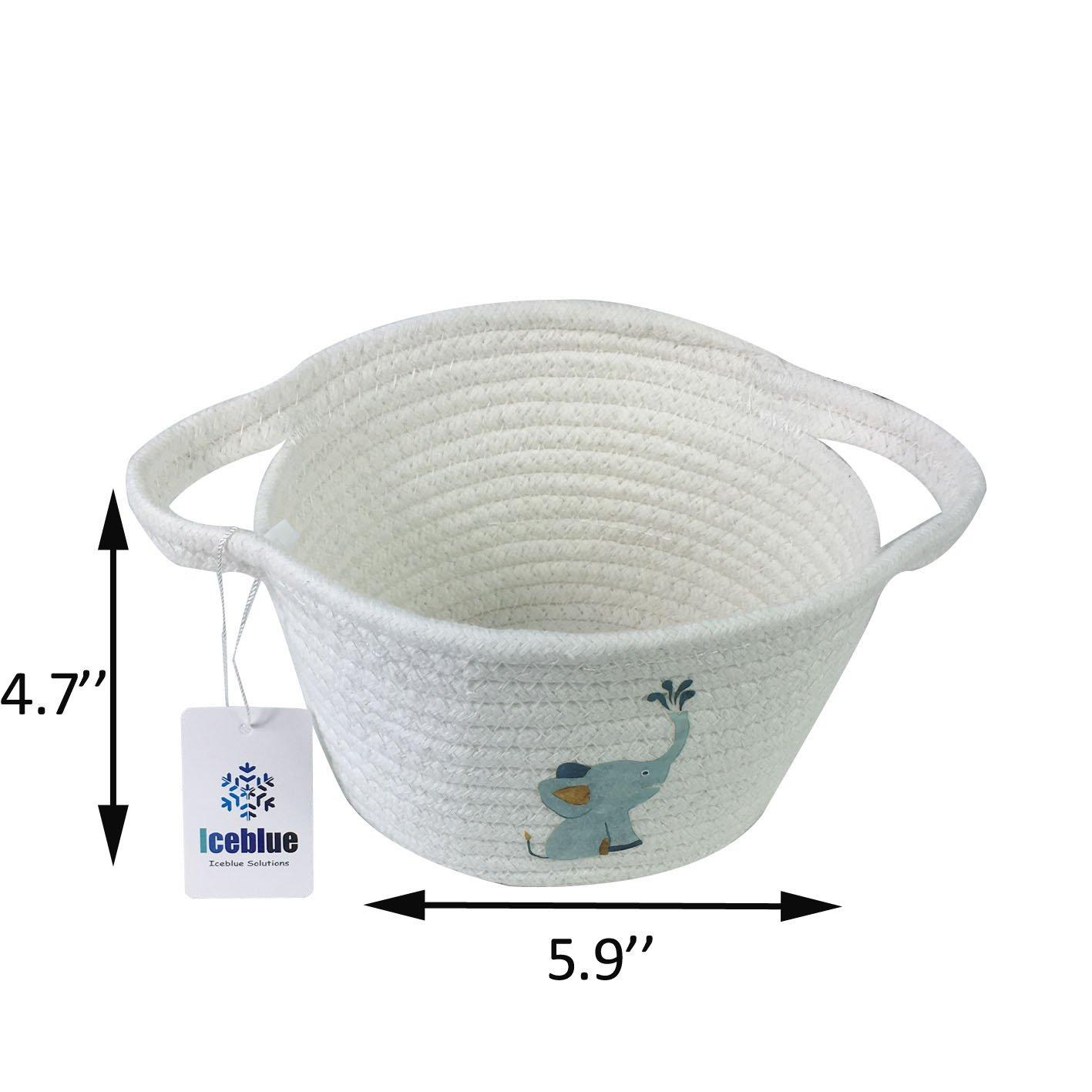 ICEBLUE 5.9 X5.9X4.7 Cute Elephant Design Mini Cotton Rope Storage Bin Basket Organizer with Handles