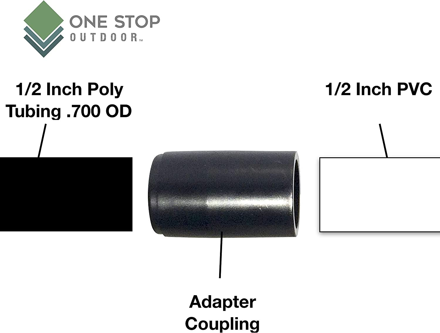 PVC To Poly Drip Irrigation Hydroponics Tubing Coupling Adapter Connects 1//2 PVC to .700od Poly Tubing 25-Pack