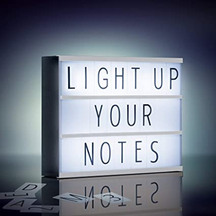 Amazon Com Merkury Innovations Light Up Box Led Message Letter Board Sign With 72 Letters And Symbols Movie Marquee Lightbox Aesthetic Bedroom Room Decor Theater Cinema Letterbox Lights Display Black