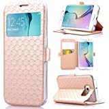 Galaxy S6 Edge Case, ArtMine Quilted Plain Color View Window Function PU Leather Flip Folio Book Style Protective Skin Stand Phone Case Kickstand Feature for Samsung Galaxy S6 Edge (Golden)