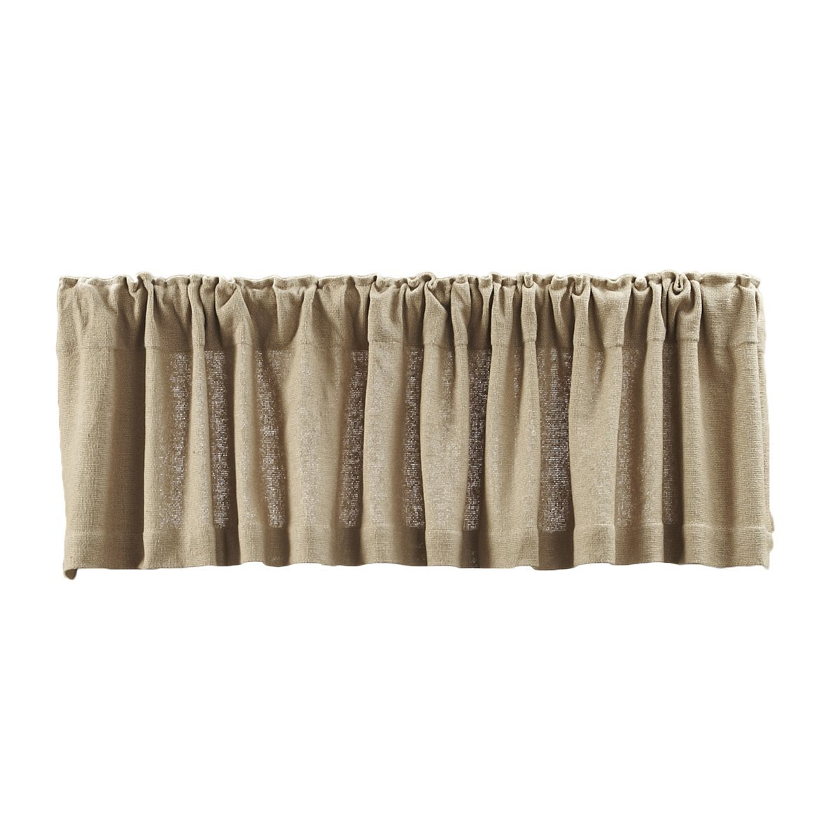 Lasting Impressions Burlap Natural Cotton Window Valance, 16 Inch By 72