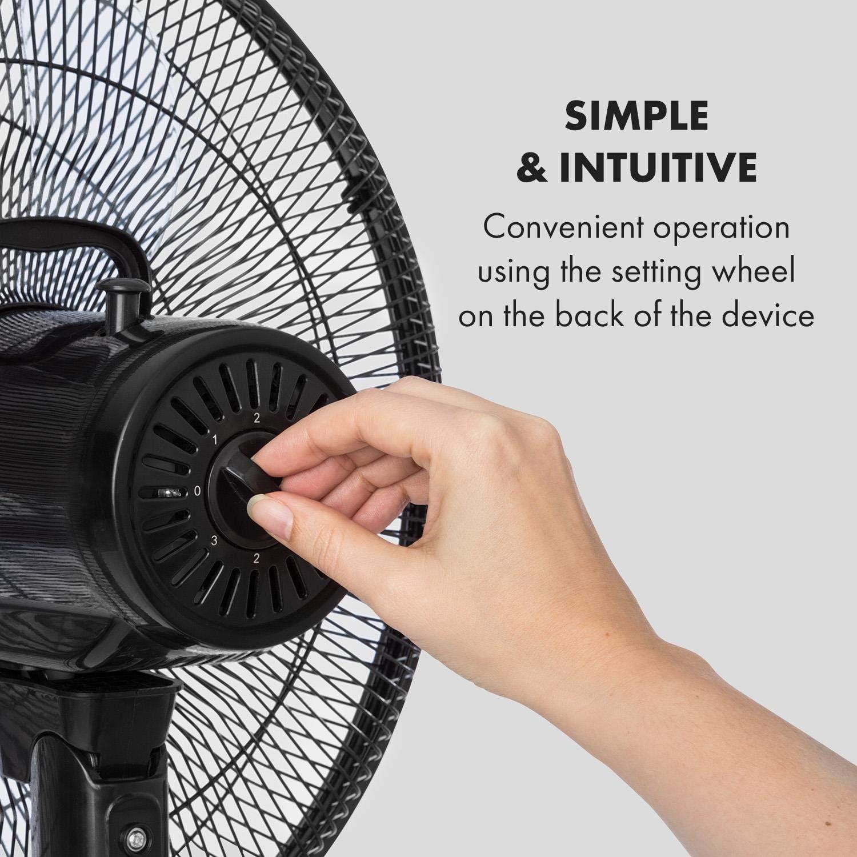 Altezza Regolabile a Piantana Nero 2 Livelli Ventilatore Oscillazione Attivabile Rotore a 5 Pale KLARSTEIN Windflower 15//38,5 cm Flusso dAria: 3.090 m/³//h 3 velocit/à Potenza: 50 Watt