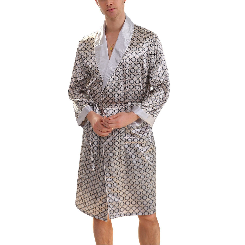 BridalAffair Men's Summer Luxurious Kimono Robe Soft Satin Bathrobe Long-Sleeve Nightgown Printed Pajamas