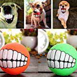 Funny Pet Dog Ball Teeth Silicon Toy Chew Squeaker Squeaky Sound Dogs Play Toys by Unbranded