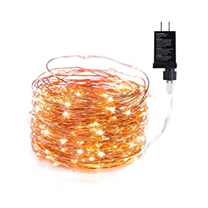 200 LED Fairy Lights 65FT Starry String Lights Waterproof Firefly Lights Warm White on Copper Wire - UL Adaptor Included, for Indoor Outdoor Christmas Decorative Patio Wedding Garden
