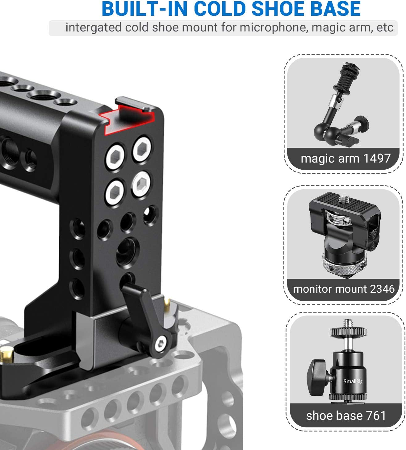 SMALLRIG NATO Top Handle Grip for Camera Cage Cheese Handle with 70mm NATO Rail Cold Shoe 2003